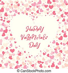 Colorful background with Heart Confetti. Valentines day greeting card or wedding invitation template party design. Cartoon flat style vector illustration.