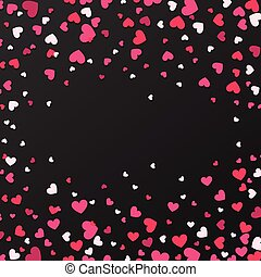 Colorful Background with Heart Confetti. Valentines day greeting card or wedding invitation background party design. Cartoon flat style vector illustration.