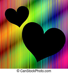 Colorful background with heart shaped copy space