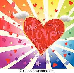 Colorful background with heart symbol
