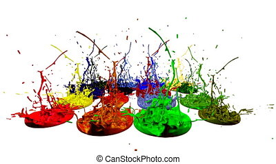 colorful background with liquid. Simulation of splashes of paint on a musical speaker that play music. 3d splashes of liquid. Paint bounce in 4k on white background. multicolor version 6