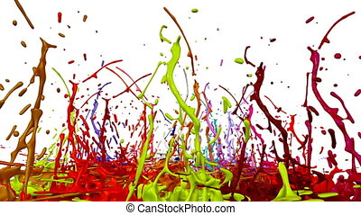 colorful background with liquid. Simulation of splashes of paint on a musical speaker that play music. 3d splashes of liquid. Paint bounce in 4k on white background. multicolor version 9