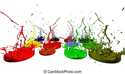 colorful background with liquid. Simulation of splashes of paint on a musical speaker that play music. 3d splashes of liquid. Paint bounce in 4k on white background. multicolor version 7