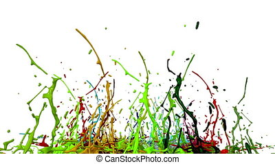 colorful background with liquid. Simulation of splashes of paint on a musical speaker that play music. 3d splashes of liquid. Paint bounce in 4k on white background. multicolor version 4