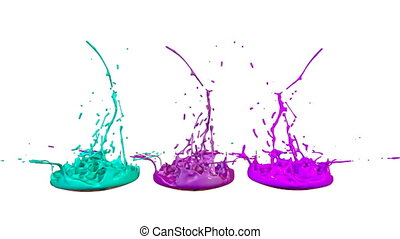 colorful background with liquid. Simulation of splashes of paint on a musical speaker that play music. 3d splashes of liquid. Paint bounce in 4k on white background. 1