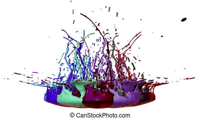 colorful background with liquid. Simulation of splashes of paint on a musical speaker that play music. 3d splashes of liquid. Paint bounce in 4k on white background. multicolor version 12