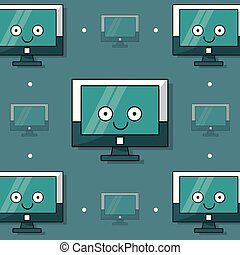colorful background with pattern of animated lcd monitor