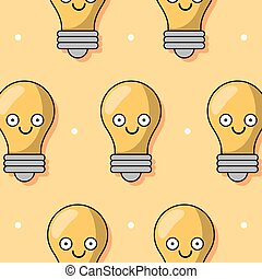 colorful background with pattern of animated light bulb