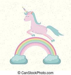 colorful background with unicorn jumping over the rainbow