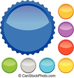 Colorful badges with blank space, vector.