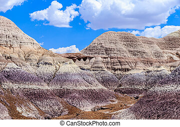 Colorful Badlands formation in Arizona's Painted Desert National Park
