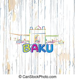 Colorful Baku drawing on wooden background