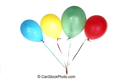 Colorful ballons - Colorful balloons with ribbon isolated on...