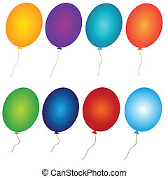 colorful ballons, vector Set, isolated - Set of the colorful...
