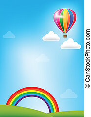 Colorful Balloon and rainbow on blue sky background