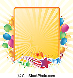 colorful balloon and star, vector celebration background