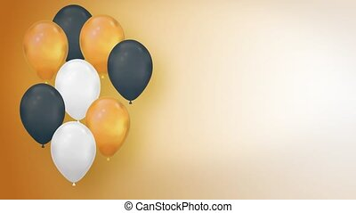 Colorful Balloon Floating on blue background. Multicolored Flying balloons. Helium Balloons rising in the air. mockup for celebrations, party, greetings and invitations Birthday Wedding Anniversary .