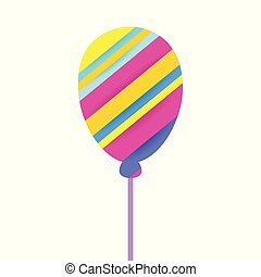 Colorful Balloon for birthday party. Paper cut style.