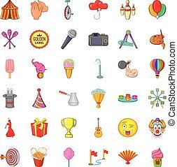 Colorful balloon icons set, cartoon style