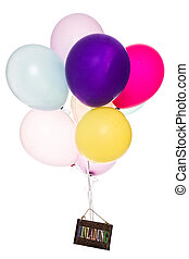 Colorful Balloon, old board with text - Colorful Balloon,...