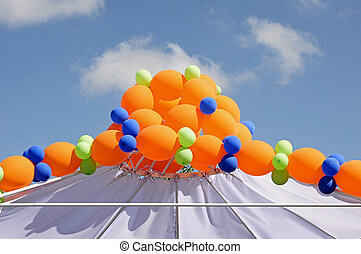 colorful balloons against blue sky