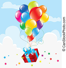 colorful balloons and a gift box in the sky