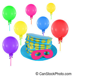 Colorful balloons and hat with mask for party and carnival