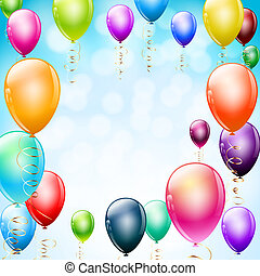 colorful balloons as frame on blue