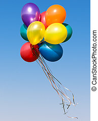 Colorful balloons - Bunch of colorful balloons in blue sky