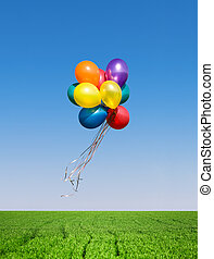Colorful balloons - Bunch of colorful balloons in the blue ...