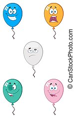 Colorful Balloons Cartoon Mascot Character 02. Collection Set