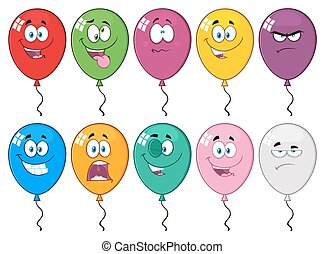 Colorful Balloons Cartoon Mascot Character 03.  Collection Set