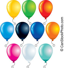 Colorful Balloons - Colored balloons isolated on white -...
