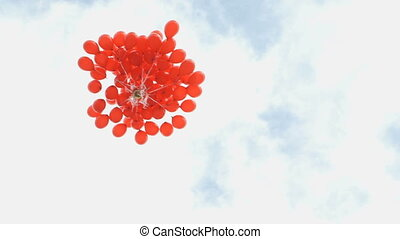 Colorful balloons fly to the sky - Beautiful helium blue,...