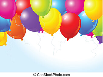 Colorful balloons flying up