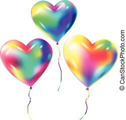 Colorful balloons heart shape isolated on white background vector