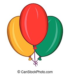 Colorful balloons icon, cartoon style