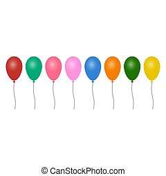 Colorful balloons in isolated white background. Collection of colorful balloons
