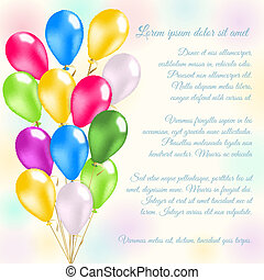 Colorful balloons invitation card