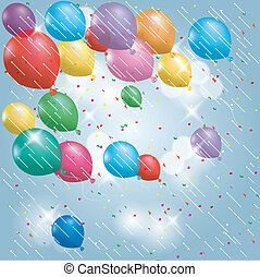 Colorful balloons, isolated on blue background.