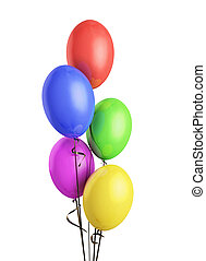Colorful balloons isolated on white background. 3d render...