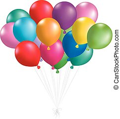 Colorful balloons, isolated on white background.