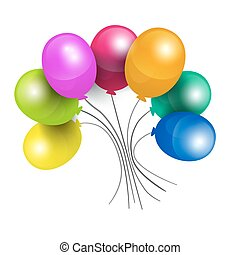 Colorful Balloons Isolated on White Background Vector