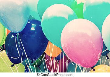 Colorful balloons, leisure activity, retro filter - Balloons...