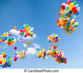 Colorful balloons - Lots of colorful balloons on the sky ...