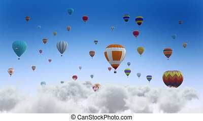 Colorful balloons on flying through the clouds. Balloon Festival.