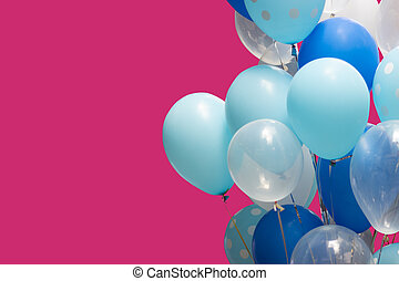 colorful balloons on pink background. happy new year and happy birthday concept