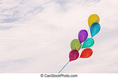 colorful balloons on the background of sky