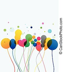 Colorful balloons on white backdrop - party decoration