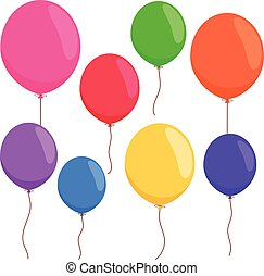 Colorful balloons on white background. Vector illustration